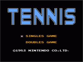 Title screen of Tennis on the Nintendo NES.