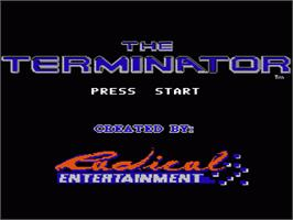 Title screen of Terminator on the Nintendo NES.