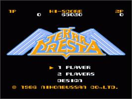 Title screen of Terra Cresta on the Nintendo NES.