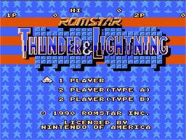 Title screen of Thunder & Lightning on the Nintendo NES.
