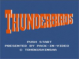 Title screen of Thunderbirds on the Nintendo NES.