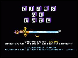 Title screen of Tiles of Fate on the Nintendo NES.