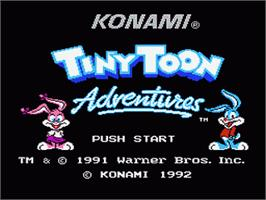 Title screen of Tiny Toon Adventures on the Nintendo NES.