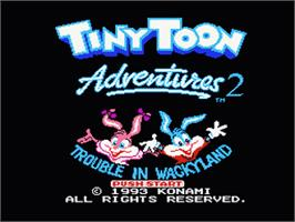 Title screen of Tiny Toon Adventures 2: Trouble in Wackyland on the Nintendo NES.