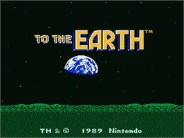 Title screen of To the Earth on the Nintendo NES.