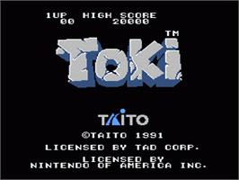 Title screen of Toki: Going Ape Spit on the Nintendo NES.