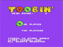 Title screen of Toobin' on the Nintendo NES.