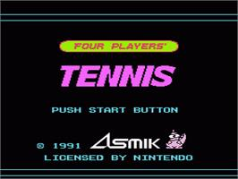 Title screen of Top Players' Tennis on the Nintendo NES.