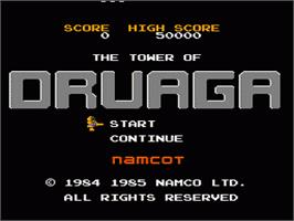 Title screen of Tower of Druaga on the Nintendo NES.