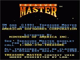 Title screen of Treasure Master on the Nintendo NES.