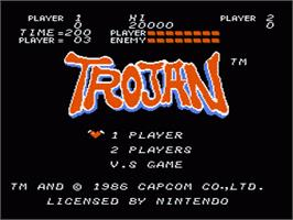Title screen of Trojan on the Nintendo NES.