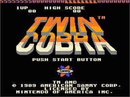 Title screen of Twin Cobra on the Nintendo NES.