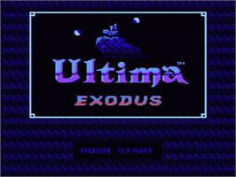 Title screen of Ultima III: Exodus on the Nintendo NES.