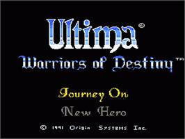 Title screen of Ultima V: Warriors of Destiny on the Nintendo NES.
