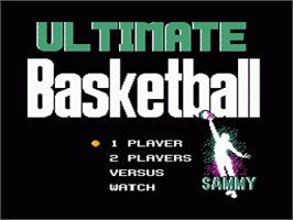 Title screen of Ultimate Basketball on the Nintendo NES.