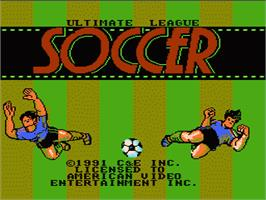 Title screen of Ultimate League Soccer on the Nintendo NES.