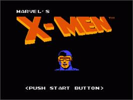 Title screen of Uncanny X-Men on the Nintendo NES.