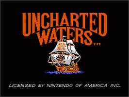 Title screen of Uncharted Waters on the Nintendo NES.