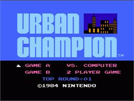 Title screen of Urban Champion on the Nintendo NES.