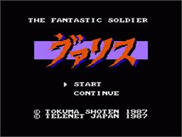 Title screen of Valis: The Fantasm Soldier on the Nintendo NES.