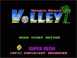 Title screen of Venice Beach Volleyball on the Nintendo NES.