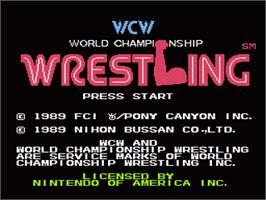 Title screen of WCW: World Championship Wrestling on the Nintendo NES.