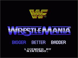 Title screen of WWF Wrestlemania: Steel Cage Challenge on the Nintendo NES.