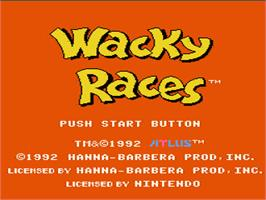 Title screen of Wacky Races on the Nintendo NES.