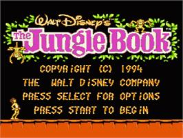 Title screen of Walt Disney's The Jungle Book on the Nintendo NES.