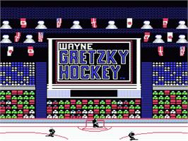 Title screen of Wayne Gretzky Hockey on the Nintendo NES.