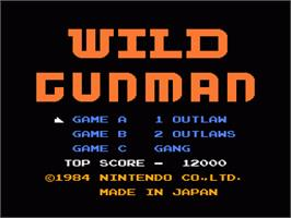 Title screen of Wild Gunman on the Nintendo NES.