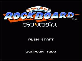 Title screen of Wily & Right no RockBoard: That's Paradise on the Nintendo NES.