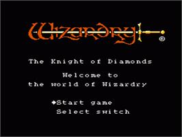 Title screen of Wizardry III: Diamond no Kishi on the Nintendo NES.
