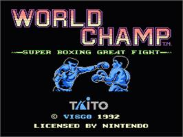 Title screen of World Champ:  Super Boxing Great Fight on the Nintendo NES.