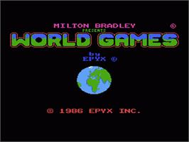 Title screen of World Games on the Nintendo NES.