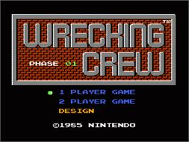 Title screen of Wrecking Crew on the Nintendo NES.
