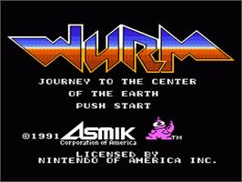 Title screen of Wurm: Journey to the Center of the Earth on the Nintendo NES.
