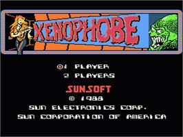 Title screen of Xenophobe on the Nintendo NES.
