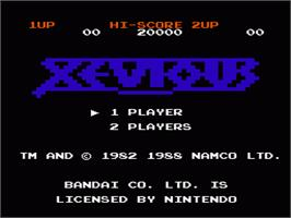 Title screen of Xevious on the Nintendo NES.