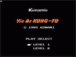 Title screen of Yie Ar Kung-Fu on the Nintendo NES.