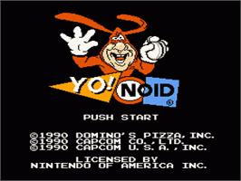 Title screen of Yo! Noid on the Nintendo NES.