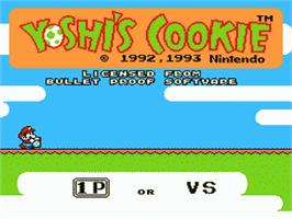 Title screen of Yoshi's Cookie on the Nintendo NES.