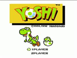 Title screen of Yoshi on the Nintendo NES.