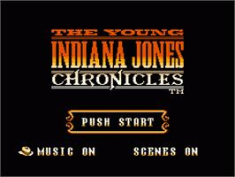 Title screen of Young Indiana Jones Chronicles on the Nintendo NES.