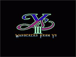 Title screen of Ys III: Wanderers from Ys on the Nintendo NES.