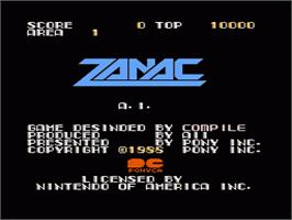 Title screen of Zanac A.I. on the Nintendo NES.