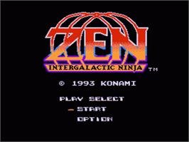 Title screen of Zen: Intergalactic Ninja on the Nintendo NES.