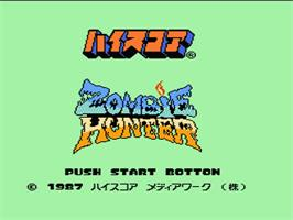 Title screen of Zombie Hunter on the Nintendo NES.