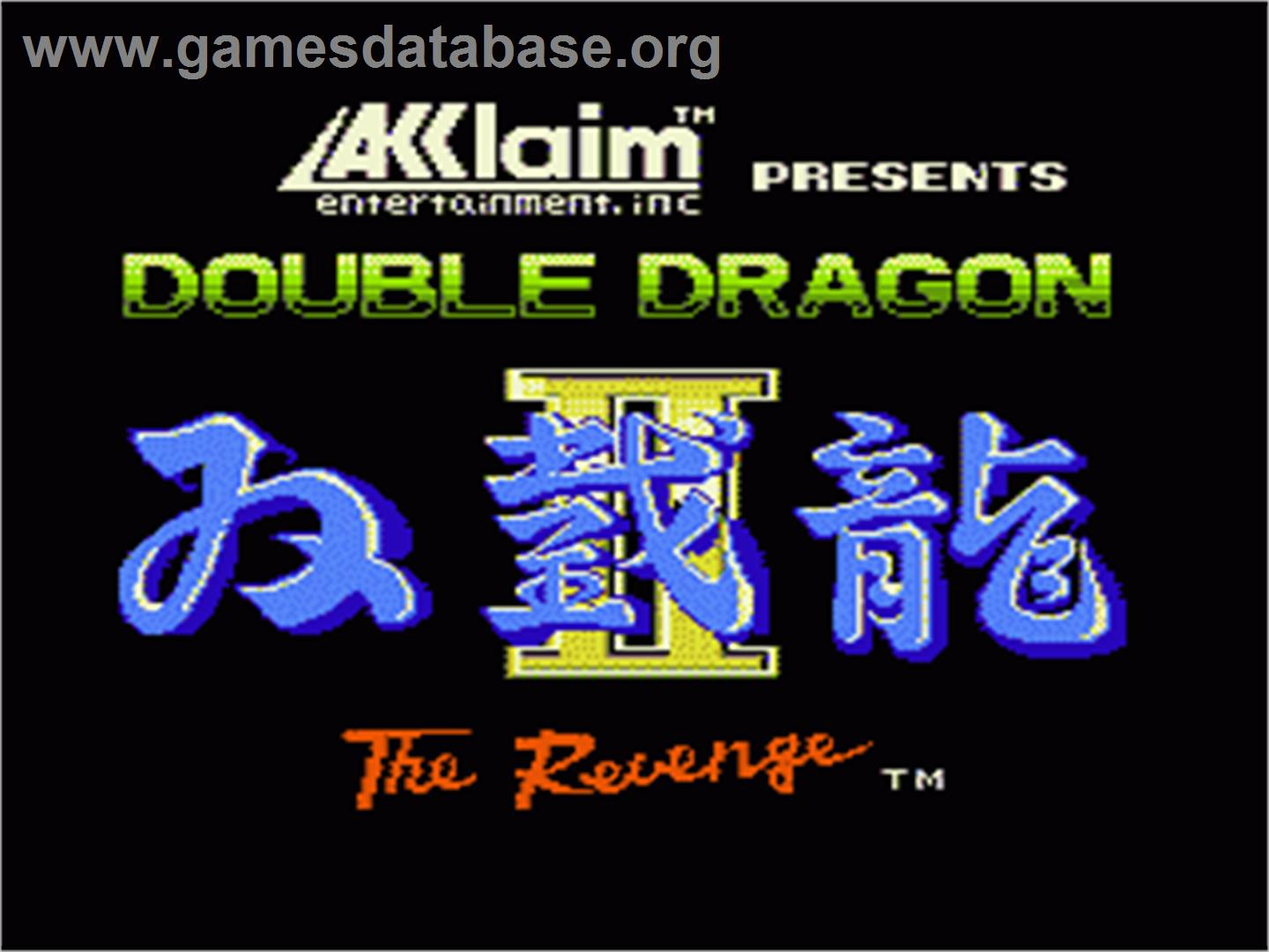 Title Screen Of Double Dragon Ii The Revenge On Nintendo Nes Picture