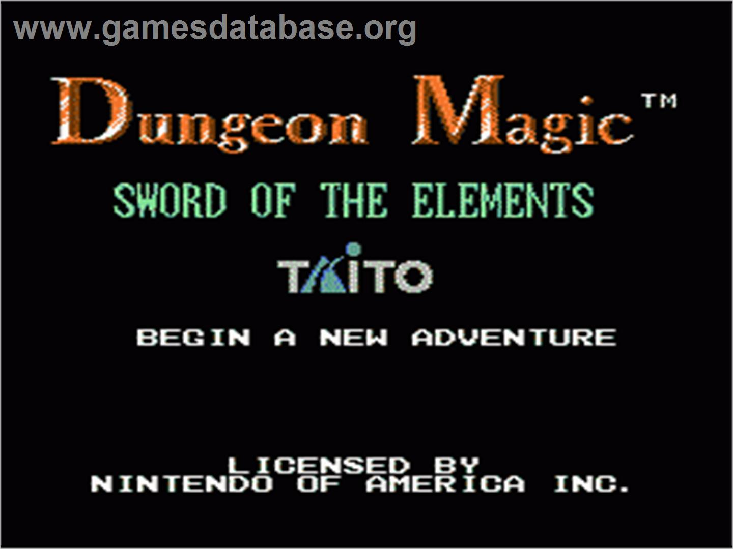 Dungeon Magic: Sword of the Elements - Nintendo NES - Artwork - Title Screen